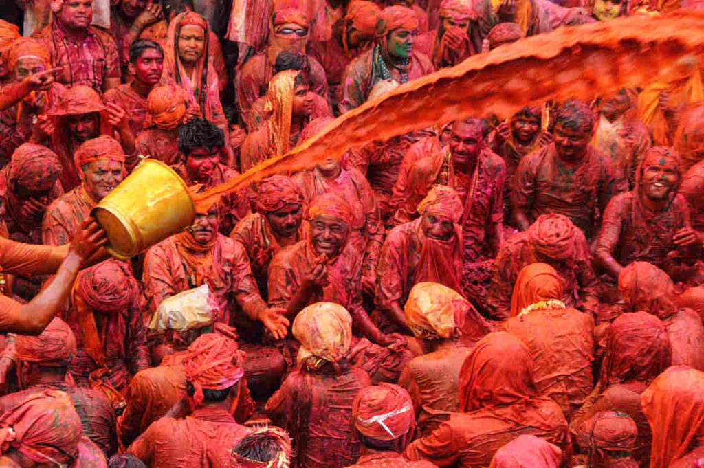 Throwing water on Holi